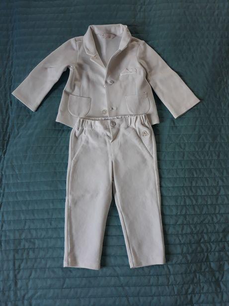 Biały garnitur Mayoral, chrzest, 75cm 6-9m - body koszulowe gratis