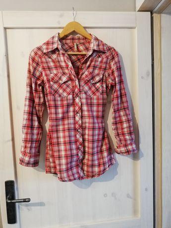 czerwona koszula w kratę 38