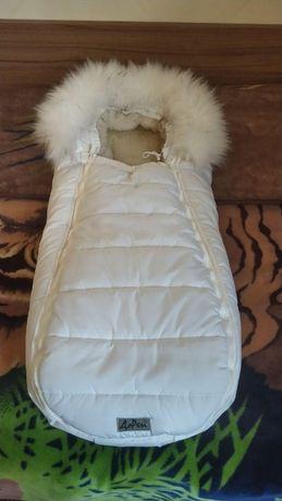 Зимний конверт-кокон на натуральной овчине с опушкой ДоРечі Baby XS Бе