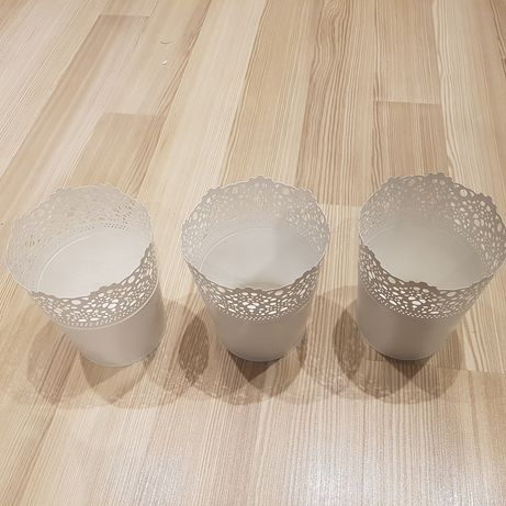 Doniczki osłonki 3sztuki białe metalowe Ikea stan jak nowe