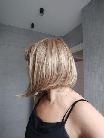 Peruka syntetyczna long bob z grzywką jasny blond Hairpower