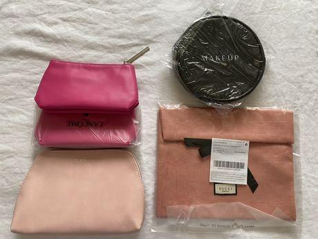 Новая розовая черная косметичка lancome make up