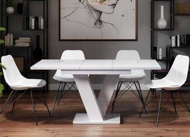 Nowoczesny stół rozkładany 120 - 160 cm biały połysk do kuchni salonu