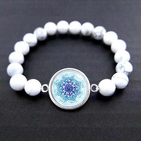 Bransoletka w stylu boho orient mandala kamień naturalny biały howlit