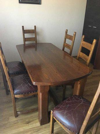 Stół z krzesłami,dębowy-antyk