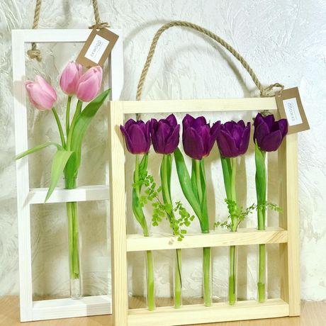 Идеальный подарок, рамки и вазы с пробирками для цветов, деревянные
