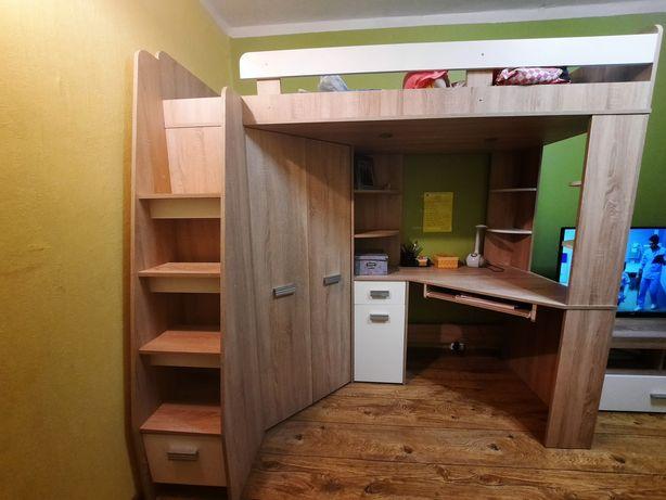Łóżko antresola z biurkiem i szafą