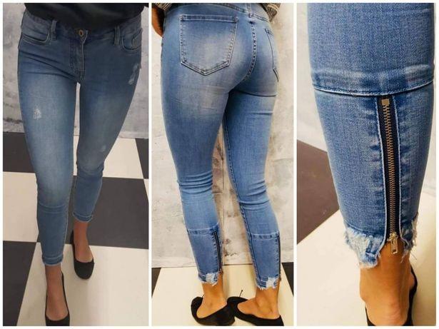 Spodnie jasny z suwakami niby proste a jednak bardzo efektowne