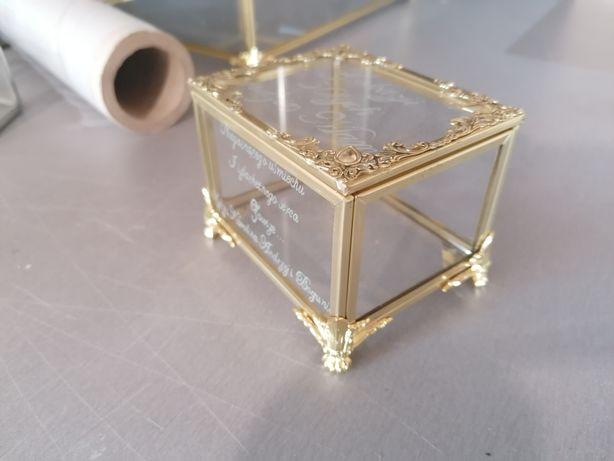 Pudełko szklane złote, szkatułka, organizer, przezroczyste, glamour