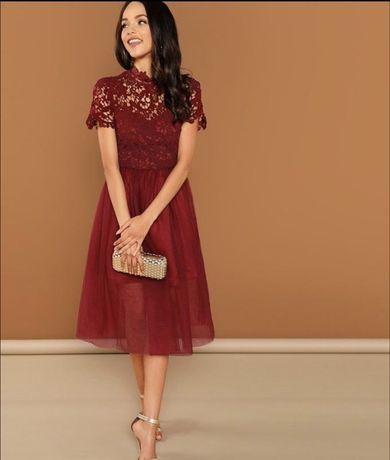 Платье бордовое для беременных фатин, свадебное для фотосессии