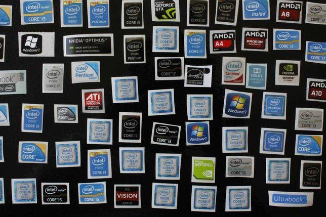 Наклейки Intel Core i3/i5/i7 NVIDIA GTX/RTX AMD VEGA/RYZEN WINDOWS 10