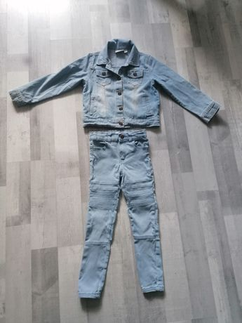 Ubranka jeansowe kurteczka i spodnie rurki 110/116