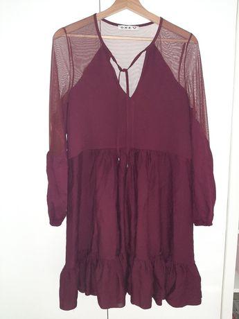 One Fashion sukienka Siatka Burgund Nowa
