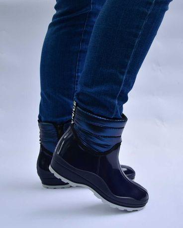 Женские резиновые сапоги, полусапожки, утепленные на флисе, чоботи