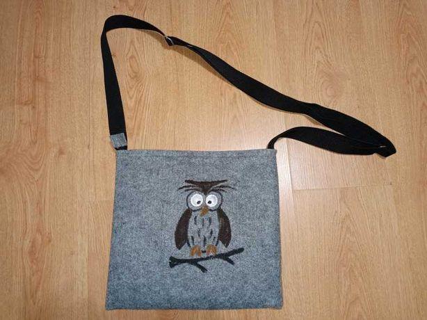 Filcowa torebka na ramię z sową handmade