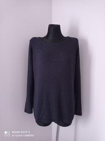 Granatowy cienki sweterek damski na długi rękaw esmara duży rozmiar