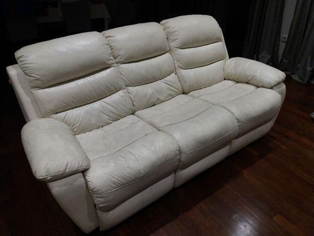Sofá de pele 3 lug. reclinável