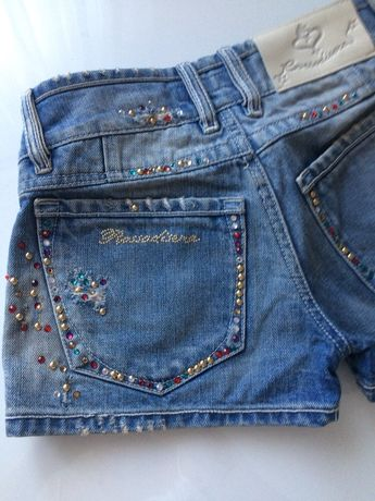 Rossodisera Jeansowe Spodenki Krótkie Bogato zdobione Spodnie Nowe