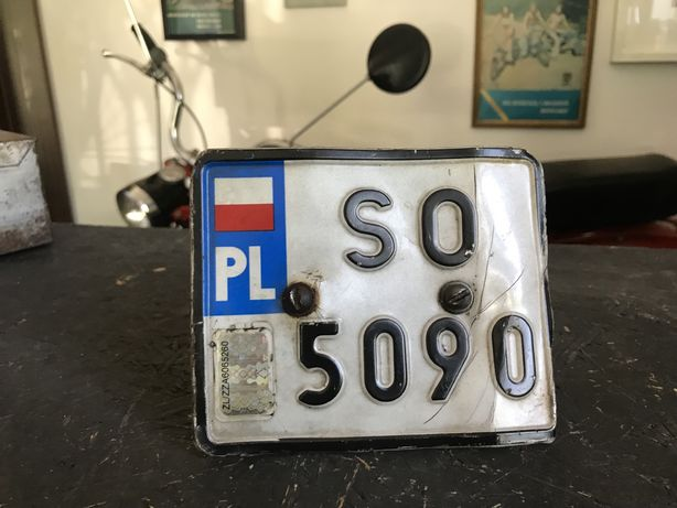 Romet Motorynka Kadet tablica rejestracyjna biala slask