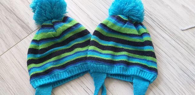 Czapki czapeczki zimowe z pomponem chłopięce dla bliźniaków z polarem