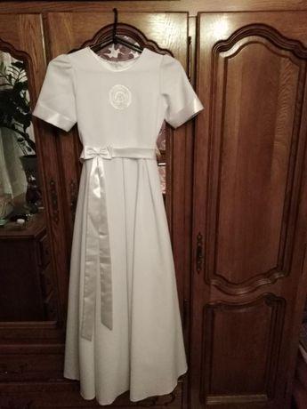 Sukienka komunijna, komunia, wianek, dla dziewczynki 140 cm