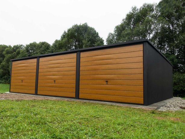 Garaż blaszany 9x5m Matowa Czerń + Jasny Dąb PREMIUM garaże TRANSTAL