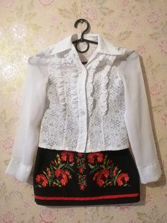 Школьная блузка, рост 128-134