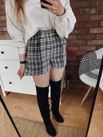 Szorty tweedowe w kratkę czarno białe basic minimal