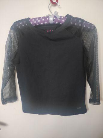 Bluzka twerk rękawy z siateczki czarna
