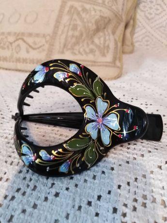 Klamra, klamerka do włosów ręcznie malowana styl orientalny