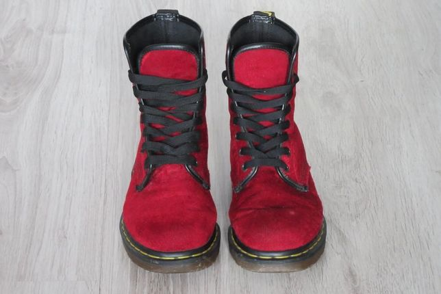 Dr Martens AirWair Red Velvet Limited Edition glany trapery
