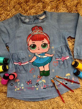 Ручная роспись Кукла Лол джинсовое платье