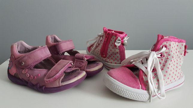 Buty dziecięce różowe Sandałki skórzane r.23 oraz Tenisówki r.23