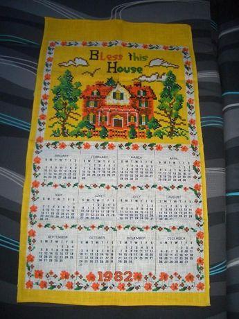 lniany ręcznik kalendarz 1982 pamiatka PRL-u