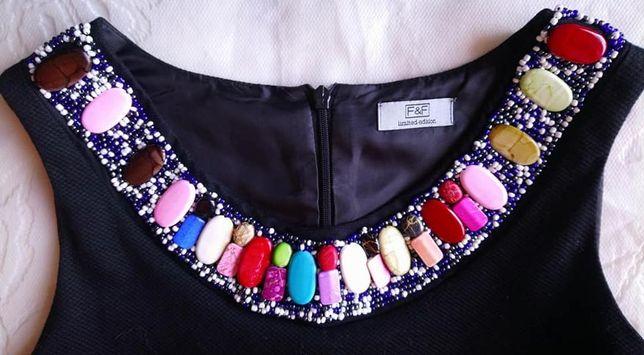 Платье-сарафан F&F р.40 черный на подкладке украшен разноцветными буси