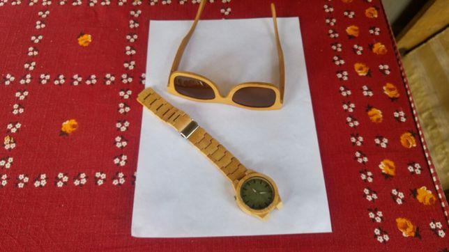 Часы очки деревянные часи окуляри деревяні