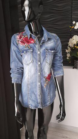 Koszula jeansową, haftowana damska