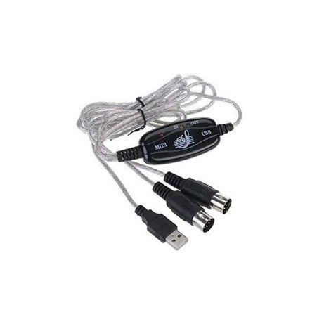 Cabo Interface Midi In/Out para USB - Goeik