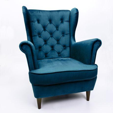 Fotel uszak styl skandynawski sprężyny velvet tkaniny