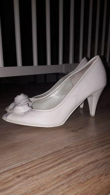 Buty ślubne, skórzane, biale, rozmiar 35