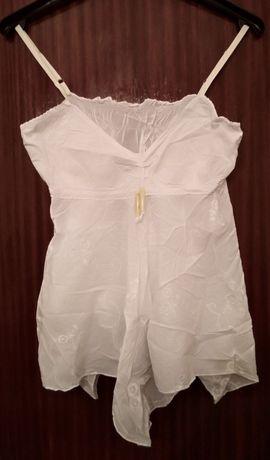 Top bordado alças finas branco