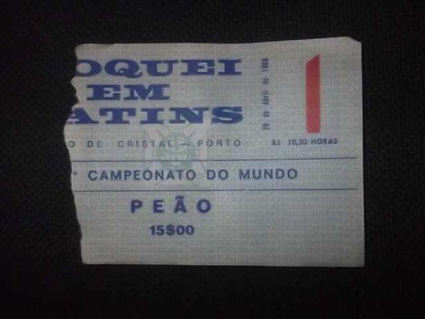 ÍMPAR! Bilhete 1968 PORTUGAL CAMPEÃO do MUNDO HOQUEI PATINS (Porto)