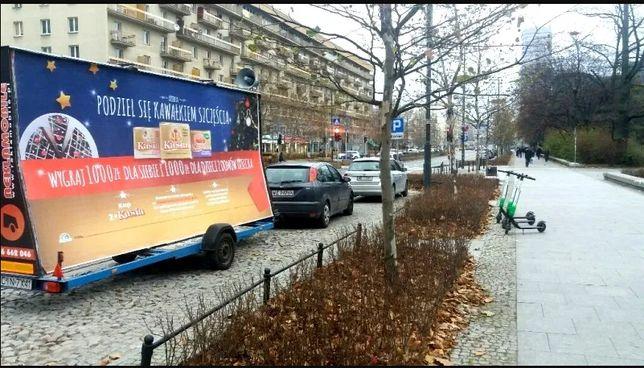 Reklama mobilna, przyczepa reklamowa, laweta, Wrocław, Dolnośląskie