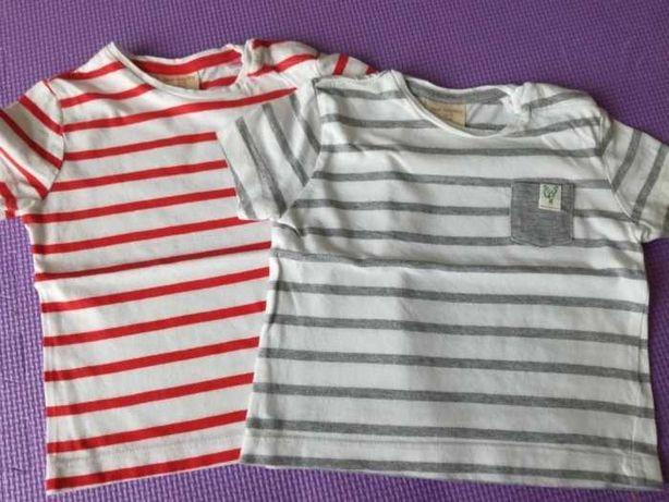 Koszulki 2szt. na lato T-shirty zara  rozmiar 68, w paski,super jakość