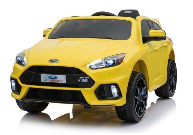 Samochód FORD FOCUS RS ŻÓŁY na akumulator Kluczyki Miękkie Koła Skóra