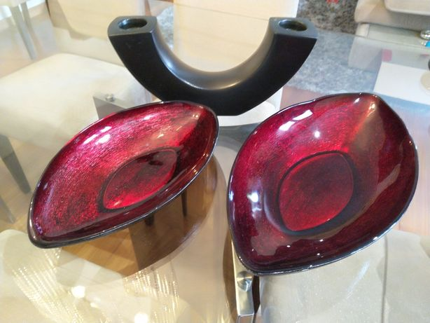 Conjunto de 2 Taças de vidro e Suporte de velas