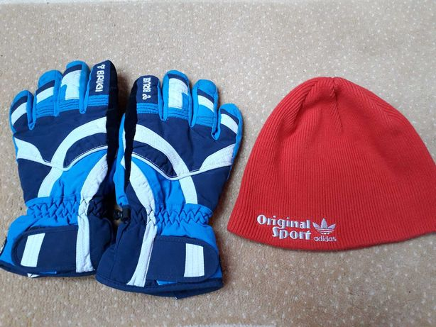 Czapka ADIDAS + rękawice BRUGI wiek ok.7-8lat