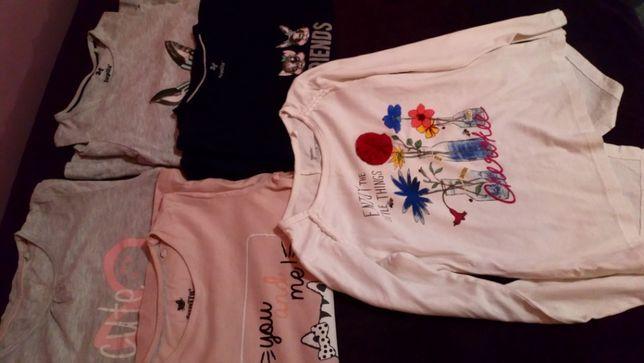 bluzki LUPILU jak nowe 5 sztuk długi rekaw 110-116