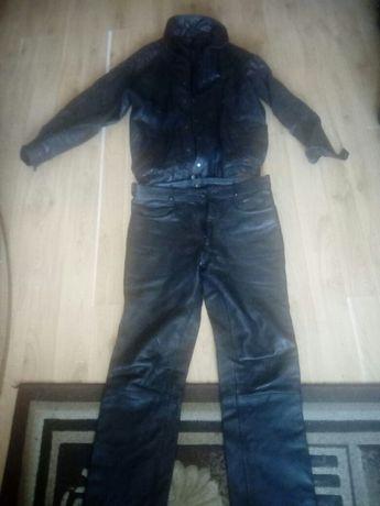 Komplet skórzany kurtka i spodnie wymiary 104 w długości i pasie 96