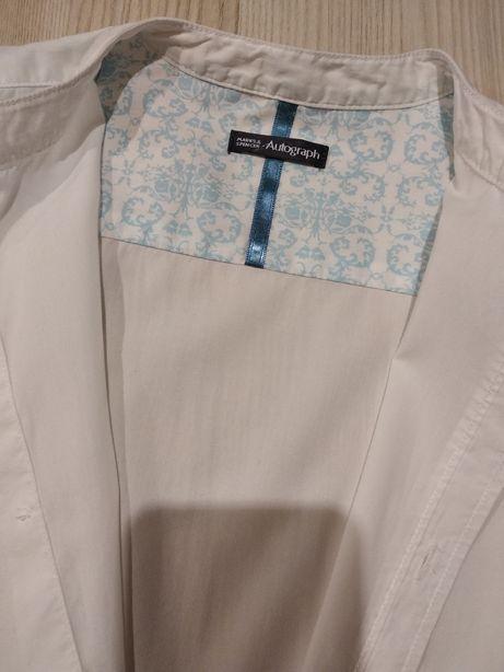 Śnieżnobiała elegancka koszula, biała koszulka Autograph Marks&Spencer